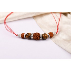 5 Mukhi Rakhi Tiger eye Beads with German silver accessories
