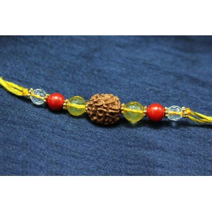 4 Mukhi Rakhi Citrine Coral and Sphatik Beads with Panchdhatu Chakri