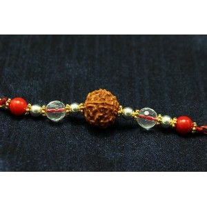 6 Mukhi Rakhi Sphatik and Coral Beads with Silver and Panchdhatu accessories