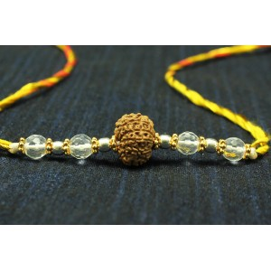 10 Mukhi Rakhi Sphatik Beads with Silver and Panchdhatu accessories