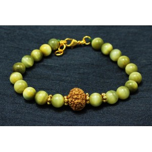 8 Mukhi Rakhi and Cats Eye beads with Panchdhatu Chakris