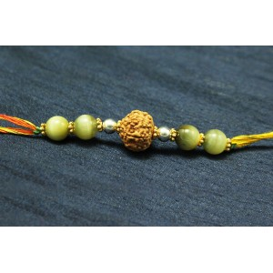 8 Mukhi Rakhi and Cats Eye beads with Panchdhatu Chakris - I