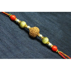 8 Mukhi Rakhi Cats Eye and Coral beads with Panchdhatu Chakris