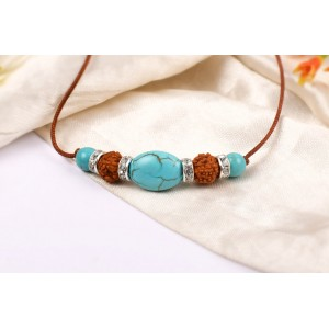 5 Mukhi Rakhi Turquoise Beads with German silver accessories