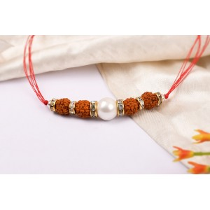 5 Mukhi Rakhi Pearl Beads with German silver accessories