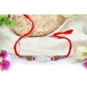 2 Mukhi Rakhi with pure silver bracelet and accessories in thread