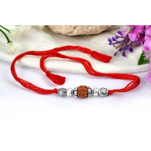 4 Mukhi Rakhi with pure silver accessories in thread - I