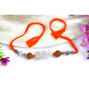 6 Mukhi Rakhi with pure silver accessories in thread - II