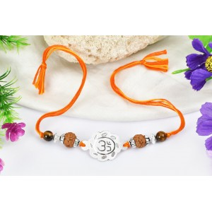 6 Mukhi Rakhi Tiger Eye beads with pure silver accessories in thread