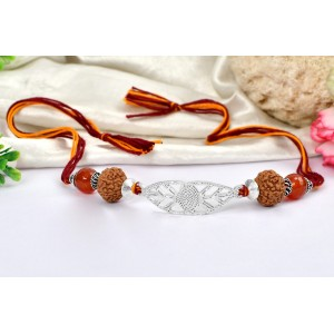 8 Mukhi Rakhi Carnelian beads with pure silver accessories in thread