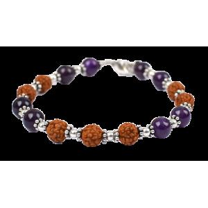 Rudraksha and Amethyst beads Bracelet - I