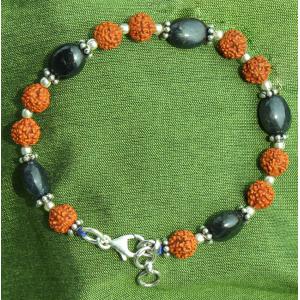 Blue Sapphire with Rudraksha Beads Bracelet
