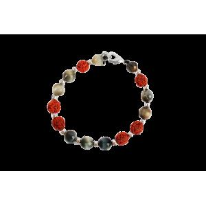 Rudraksha and Black Cats Eye Bracelet - Design I