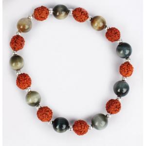 Rudraksha and Black Cats Eye Bracelet - Design II