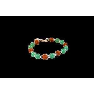 Rudraksha and Green Jade bracelet - Design I