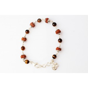 6 Mukhi with Tiger Eye bracelet in silver Capping