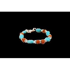Rudraksha and Turquoise bracelet