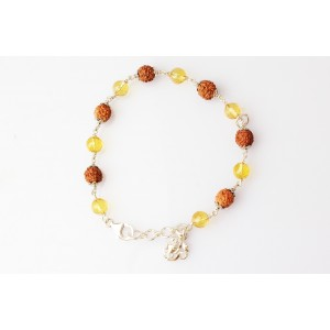 4 Mukhi with Yellow Citrine Bracelet in Silver Capping