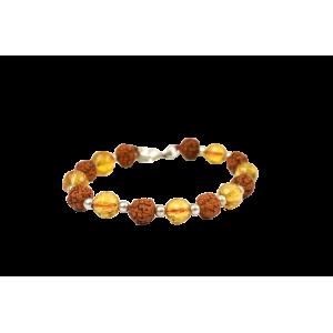 Rudraksha and Yellow Citrine Feceted Bracelet