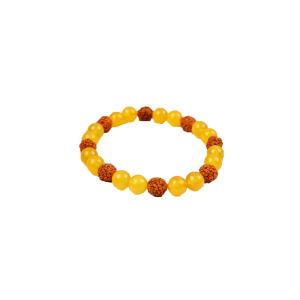 Yellow Jade and Rudraksha Bracelet