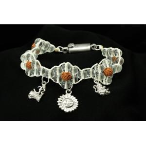 Sphatik Rudraksha Charm Bracelet - Design II