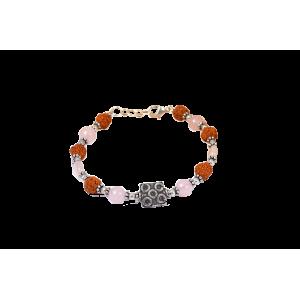 Rudraksha and Rose Quartz Bracelet