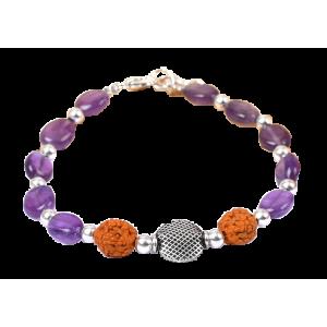 Amethyst and Rudraksha Bracelet - III
