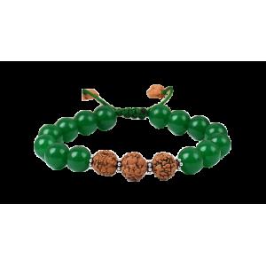 Green Onyx and Rudraksha Bracelet