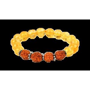 Yellow Citrine and Rudraksha Beads Bracelet