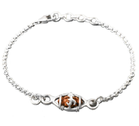 1 Mukhi Rudraksha Java Bracelet - Silver Basket and Chain 11mm