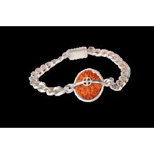 10 Mukhi Rudraksha Java Silver Chain Bracelet -13mm