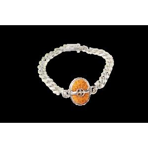 16 Mukhi Rudraksha Indonesia/Java  Silver Bracelet in Silver Chain Small 14mm-17mm