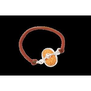 17 Mukhi Rudraksha Java/Indonesia Silver Capped Bracelet in Thread Small 14mm