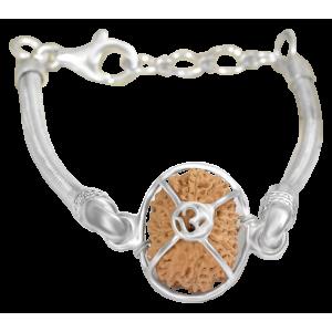 18 Mukhi Rudraksha Java/Indonesia  Silver Bracelet in Snake Silver Chain 13mm