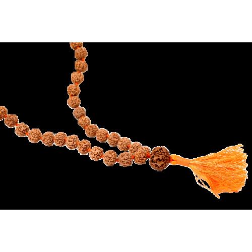 5 Mukhi Guru Mala 108 +1 beads in Thread - 12mm