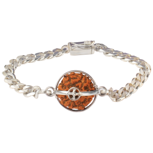 6 Mukhi Rudraksha Java Bracelet with Silver Chain - 10mm