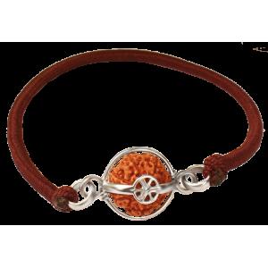 7 mukhi rudraksha Java in Silver Capped Bracelet Small 10mm