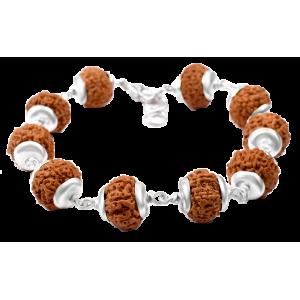 8 Mukhi Rudraksha Java Ganesha Bracelet With Silver Caps - 15mm