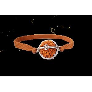 8 Mukhi Rudraksha Java Silver Capped Bracelet in thread Small