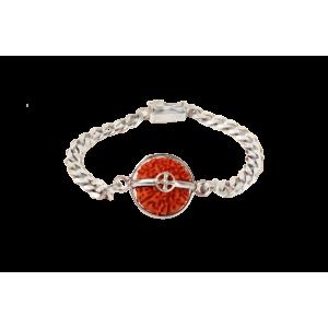 9 mukhi Rudraksha Java Silver Chain Bracelet Small 13mm