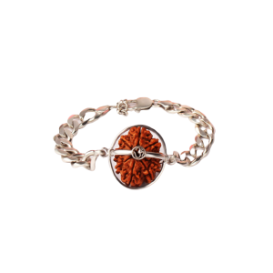 10 Mukhi Rudraksha Nepal Silver Chain Bracelet Small 20mm