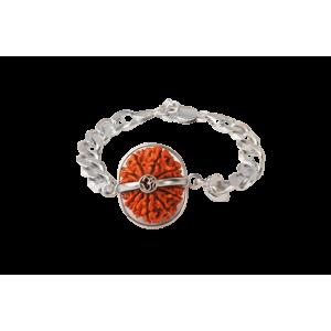 13 Mukhi Rudraksha Nepal  Silver Bracelet in Silver Chain Small 20mm-24mm