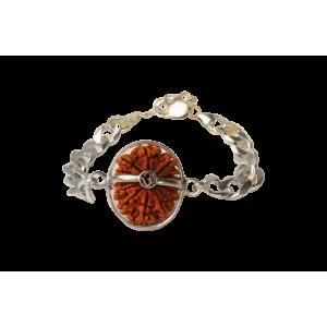 14 Mukhi Rudraksha Nepal  Silver Bracelet in Silver Chain 24mm-26mm