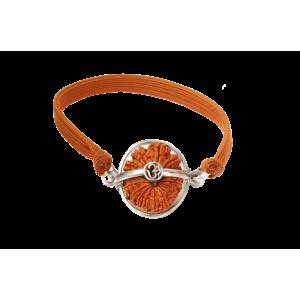 17 Mukhi Rudraksha Nepal Silver Capped Bracelet in Thread Small 27mm