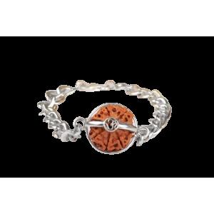 6 Mukhi Rudraksha Nepal Bracelet with Silver Chain - 15mm