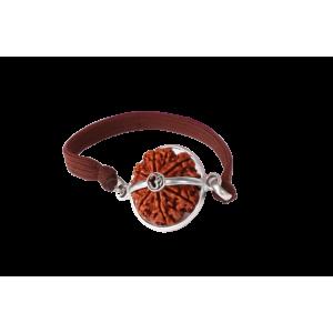 9 Mukhi Rudraksha Nepal Silver Capped Bracelet in Thread Small - 22mm
