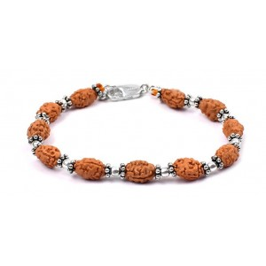 2 mukhi Moon bracelet from Java with silver balls and chakri - 10mm