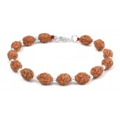 3 mukhi Agni bracelet from Java with silver balls - 10mm