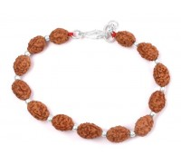 3 mukhi Agni bracelet from Java with silver balls - 13mm