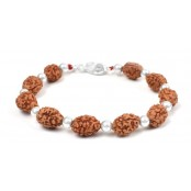 3 mukhi Agni bracelet from Java with silver balls - 14mm